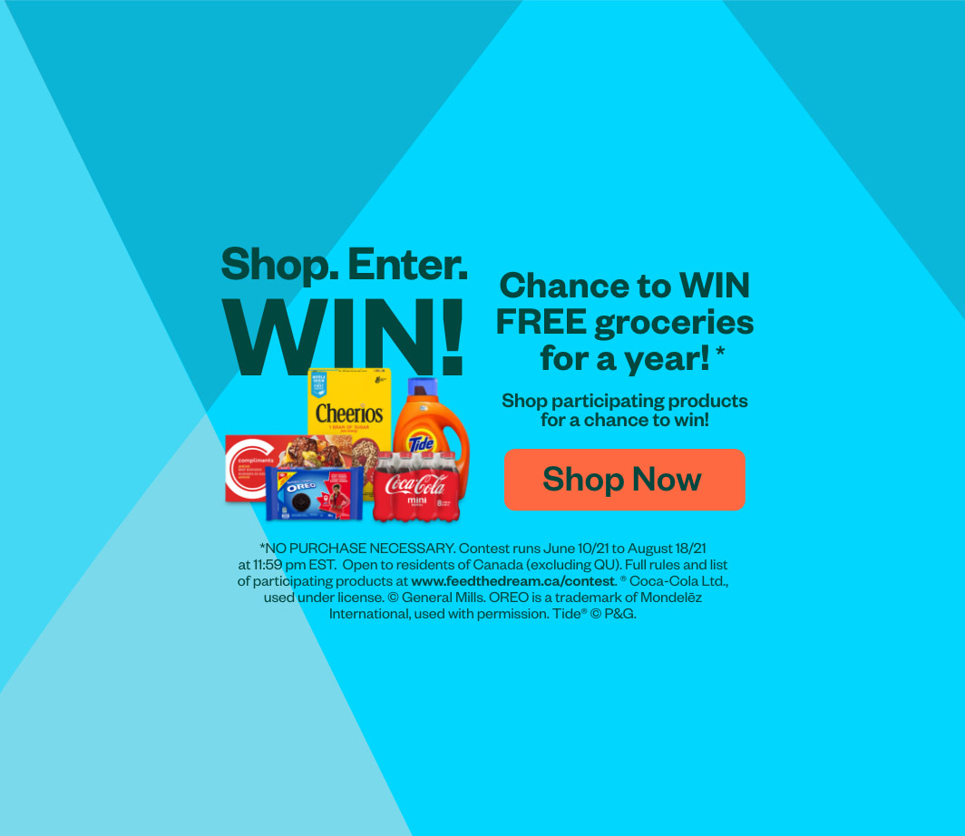 Chance to WIN FREE groceries for a year! Shop Now