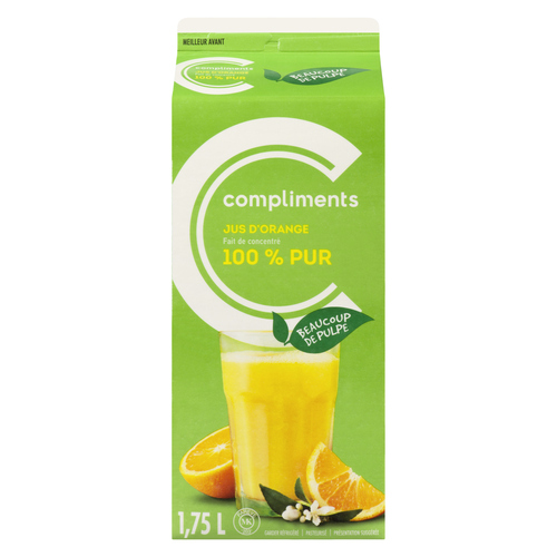 Compliments 100% Pure Orange Juice Lots Of Pulp 1.75 L