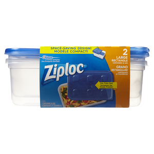 Ziploc Rectangle Containers Large 2 EA