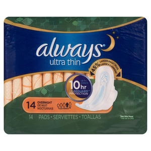 Always Ultra Thin Overnight Pads 14 EA