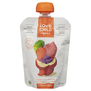 Love Child Organics Baby Food Apple, Sweet Potato, Carrot & Blueberry 128 ml
