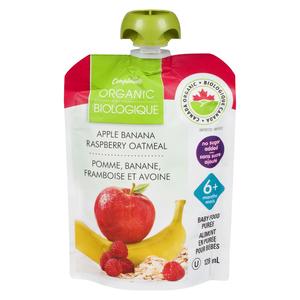 Compliments Organic Baby Food Purée Apple, Banana, Raspberry & Oatmeal 128 ml