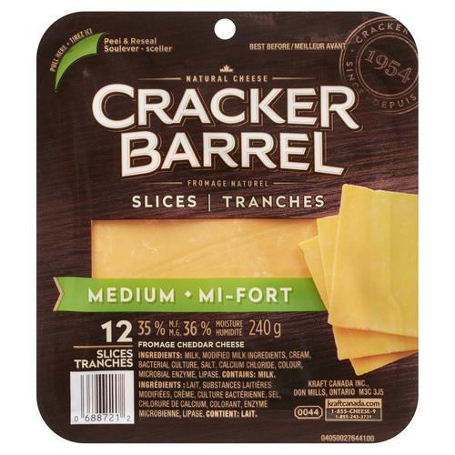 Cracker Barrel Medium Cheddar Cheese Slices 240 g