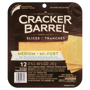 Cracker Barrel Light Medium Cheddar Cheese Slices 240 g