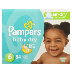 Pampers Baby Dry Super Size 6 Diapers 64 EA