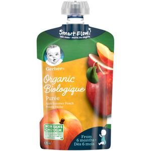 Gerber Organic Purée Apple & Summer Peach 128 ml