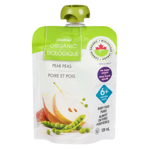 Compliments Organic Baby Food Purée Pear & Peas 128 ml
