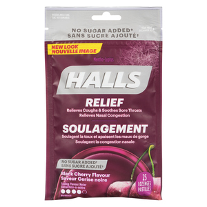 Halls Mentho-Lyptus Sugar-Free Cough Drops Black Cherry Bag 25 Lozenges