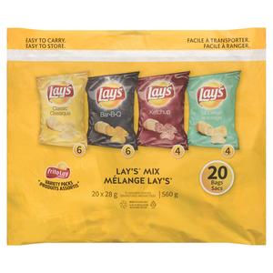 Frito Lay Lay's Mix Variety Pack Potato Chips 20 Count 560 g