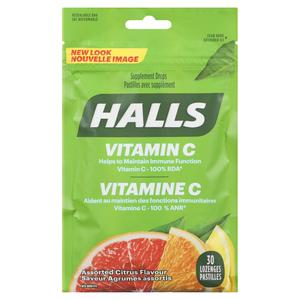 Halls Vitamin C Defense Citrus Lozenges Bag 30 Lozenges