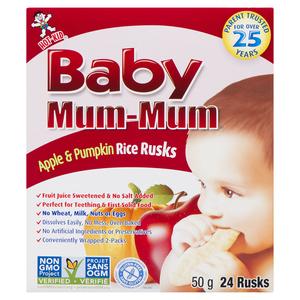Hot-Kid Baby Mum-Mum Rice Rusks Apple & Pumpkin 24 EA 50 g