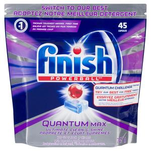 Finish Powerball Quantum Max Ultimate Clean & Shine Dishwasher Detergent 45 Capsules