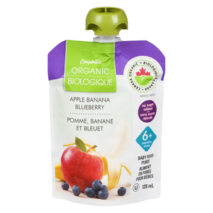 Compliments Organic Baby Food Purée Apple, Banana & Blueberry 128 ml