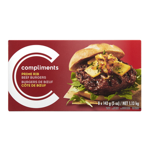 Compliments Prime Rib Beef Burger 8 Patties 1.13 kg