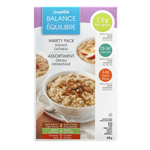 Compliments Balance Instant Oatmeal Variety Pack 378 g