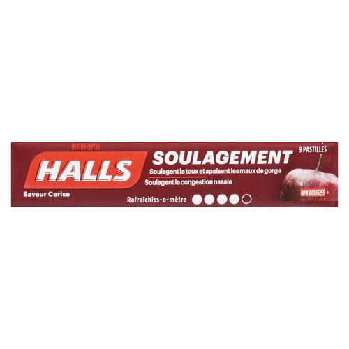 Halls Cough Drops Cherry 9 Lozenges