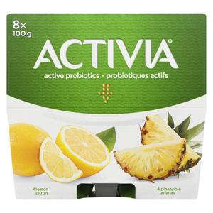 Activia Lemon Pineapple Yogurt 8 x 100 g
