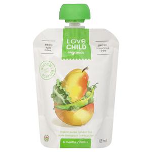 Love Child Organics Baby Food Pear, Kale & Peas 128 ml