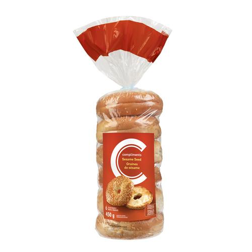Compliments Bagels Sesame 6 Pack 450 g