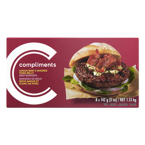 Compliments Smoked & Pork Belly Angus Beef Burger 8 Patties 1.13 kg