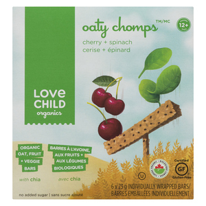 Love Child Organics Oaty Chomps - Cherry & Spinach Baby Food Bars 138 g