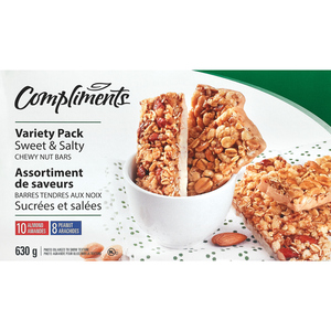 Compliments Sweet & Salty Granola Bars 2 Variety Assorted 18 Bars 630 g
