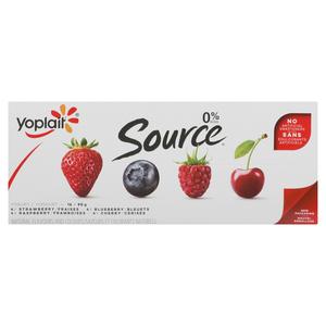 Yoplait Source Strawberry Raspberry Blueberry Cherry Yogurt 16 x 90 g