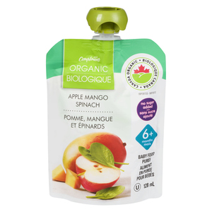 Compliments Organic Baby Food Purée Apple, Mango & Spinach 128 ml