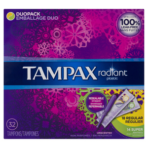 Tampax Radiant Regular Unscented Tampons 32 EA