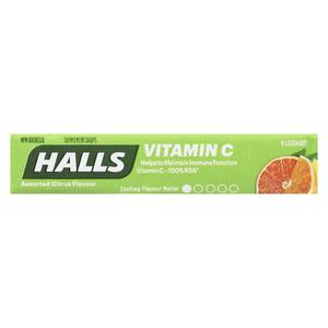 Halls Vitamin C Defense Citrus 9 Lozenges