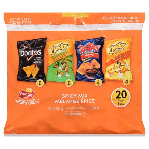 Frito Lay Spicy Mix Variety Pack Potato Chips 20 Count 560 g