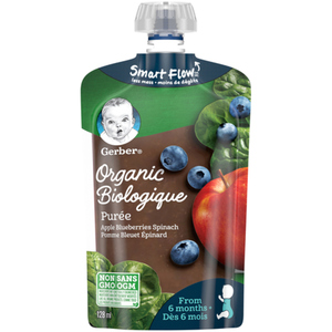 Gerber Organic Purée Apple, Blueberries & Spinach 128 ml