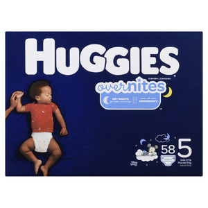 Huggies Overnite Size 5 Diapers 58 EA