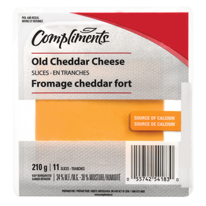 Compliments Old Cheddar Cheese Slices 210 g