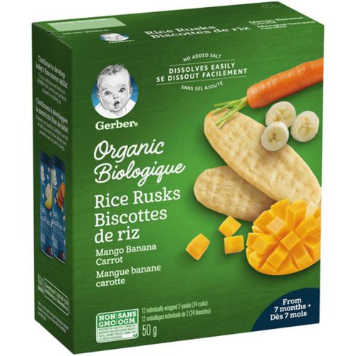Nestlé Gerber Organic Mango Banana Carrot Rice Rusks 50 g