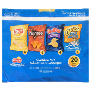 Frito Lay Classic Mix Variety Pack Potato Chips 20 Bags 560 g