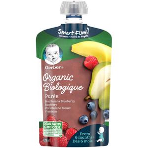 Gerber Organic Purée Pear, Banana, Blueberry & Raspberry 128 ml