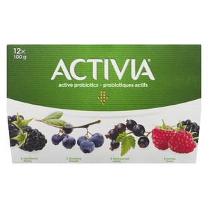 Activia Blueberry Blackberry Darkberry Blackcurrant Yogurt 12 x 100 g