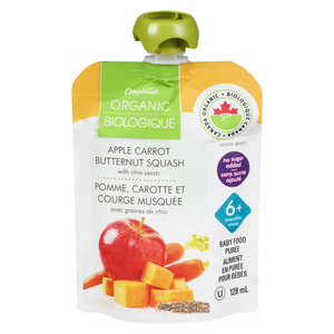 Compliments Organic Baby Food Purée Apple, Carrot & Butternut Squash With Chia Seeds 128 ml