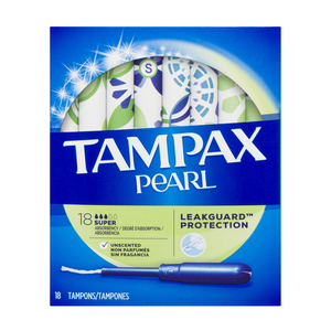 Tampax Pearl Super Tampons Unscented 18 EA