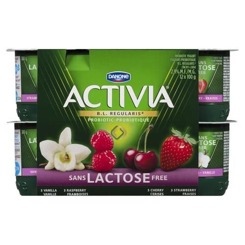 Activia Lactose-Free YogurtCherry Vanilla Raspberry Strawberry 12 x 100 g