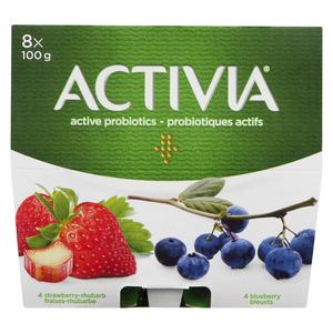 Activia  Yogurt Blueberry Strawberry Rhubarb 8 x 100 g