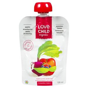 Love Child Organics Baby Food Apple, Strawberry, Beet & Blueberry 128 ml
