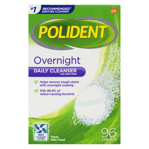 Polident Overnight Denture Cleanser 96 Tablets