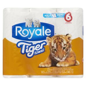 Royale Tiger Towel Paper Towels 2-Ply 55 Sheets Per Roll 6 Rolls