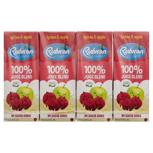 Rubicon Lychee & Apple Exotic No Sugar Added Juice Drinks 4 x 200 ml