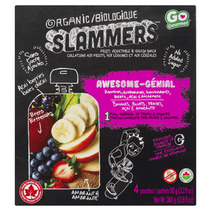 Baby Gourmet Organic Baby Snacks Slammers Awesome Acai Berry Apple 4 x 90 g