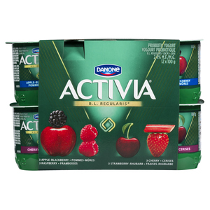 Activia Cherry Apple Blackberry Strawberry Rhubarb Yogurt 12 x 100 g