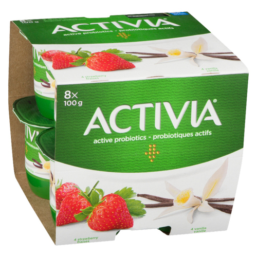 Activia Strawberry Vanilla Stirred Yogurt 8 x 100 g