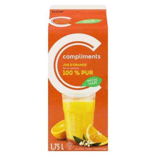 Compliments 100% Pure Orange Juice Low Pulp 1.75 L